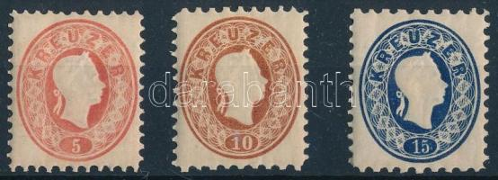 1861 5kr, 10kr, 15kr újnyomatok