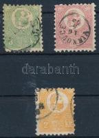 1871 Kőnyomat 2kr (elvékonyodás / thin paper) + 3kr és 5kr díjjegyesből kifogazott hamisítványok / forgeries