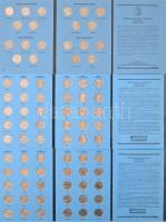 Amerikai Egyesült Államok 1999-2009. 1/4$ Cu-Ni 50 Állam 112db klf érem három Statehood Quarters gyűjtői mappában, benne minden érmének a D és a P verdejeles kiadása T:1,1- USA 1999-2009. 1/4 Dollar Cu-Ni 50 State Quarters 112pcs of diff coins in three Statehood Quarters collectors albums, with both D and P mint marks for all coins C:UNC,AU