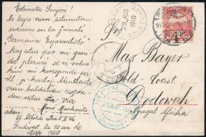 1910 Képeslap Aranypartra a Kanári szigeteken keresztül továbbítva, ACCRA átmenő és DODOWAH érkezési bélyegzésekkel, ritka desztináció!