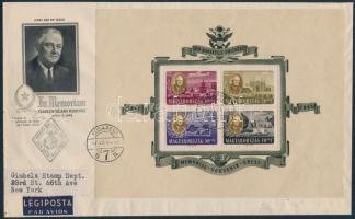 1947 Roosevelt blokkpár 2 db légi FDC-n New Yorkba (90.000 ++)
