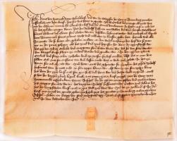 1418 Nürnberg, Hans von Sparneck (1380 k.--1430-1440 között) birodalmi bíró és a nürnbergi városbírák július 12-én (am Eritag vor sand Margreten tag) kelt oklevele a Frauentor mellett álló csűr adásvételéről, német nyelven, pergamen, sérült függőpecséttel /  1418 Nürnberg, a charter issued by Hans von Sparneck (cca 1380--between 1430-1440) Imperial mayor (Schultheiß) and the judges of Nürnberg on July 12 (am Eritag vor sand Margreten tag) about selling a barn situated near the Frauentor, in German, on parchment with damaged pendent seal on it