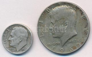 Amerikai Egyesült Államok 1956. 1d Ag + 1969. 1/2$ Ag Kennedy T:2- USA 1956. 1 Dime Ag + 1969. 1/2 Dollar Ag Kennedy C:VF