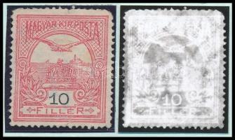 1908 Turul 10f számvízjellel, nagy ritkaság! (44.000) / number in watermark (fog és sarokhiba / perf. and corner fault)