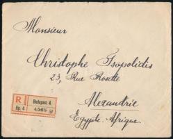 1921 Jánlott levél Arató 1K ötöscsíkkal bérmentesítve az egyiptomi Alexandriába, érkezési bélyegzésekkel / Registered cover to Egypt