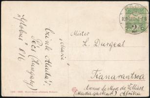1909 5f Turul bélyeggel bérmentesített képeslap Pécsről Madagaszkárra. Rendkívül ritka destináció!! / Postcard with 5f Turul stamp to Madagascar. Rare destination!!