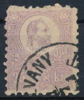 1871 Kőnyomat 25kr, hibátlan bélyeg, felül fogazási különlegesség (29.000)