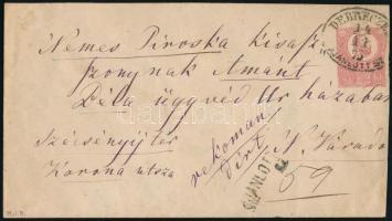 1871 Réznyomat 10kr 5kr díjjegyes borítékon ajánlott levélként DEBRECZEN AJÁNLOTT - NAGYVÁRAD AJÁNLOTT (20.000++)