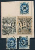 1874 Távírda Réznyomat 5 használt érték részben papírlapra ragasztva (15.500) (40kr elvékonyodás / thin paper)