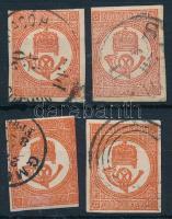 1871 4 db kőnyomású Hírlapbélyeg, színváltozatok (38.000)