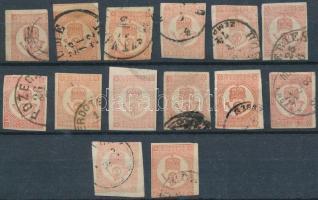 1871 14 db könyvnyomású Hírlapbélyeg, színváltozatok (10.500)