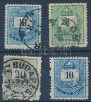 1874 4 db Színesszámú krajcáros bélyeg vésésjavításokkal, gyöngyjavításokkal