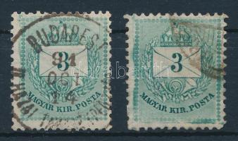 1881 2 db lemezhibás 3kr