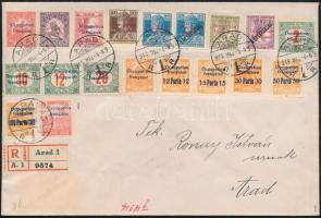 Arad 1919 19 bélyeggel bérmentesített helyi ajánlott levél