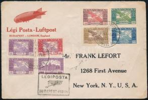 1925 okt. 7. Légiposta levél BUDAPEST - New York érkeztetve igen ritka darab! 9 bélyeges bérmentesítéssel RRR!