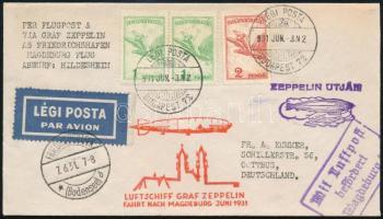 1931. június 3. Zeppelin levél a Graf Zeppelin magdeburgi repülés, luxus, kiállítási darab RR!