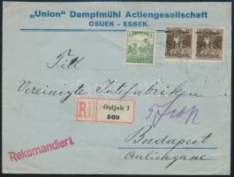 SHS 1919 jan. 31. Tarifahelyes ajánlott távolsági levél Károly 2 x 20f + Arató 5f (magyar bélyeg) bérmentesítéssel R!