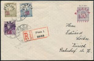 Baranya 1920 jún. 9. Ajánlott díjjegyes levél 350f díjkiegészítéssel PÉCS - ZÜRICH RRR!