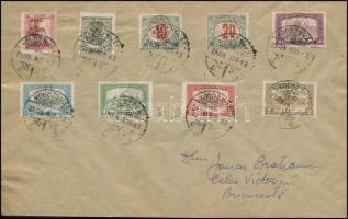 Kolozsvár 1920 jun. 29. Távolsági levél 9 db Helyi kiadású bélyeggel bérmentesítve Bukarestre küldve, érkezési bélyegzés nélkül, garantáltan valódi