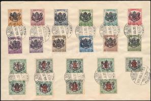 Nagyszeben 1919 21 db Helyi kiadású bélyeg címezetlen vorítékon, a bélyegek eredetiek! a 10f (650 példány), a 20f (500 példány) igen ritka kínálat RRR!
