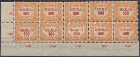 1921-1924 Hivatalos 500 K 10-es tömbben VIII. vízjellel (17.000)
