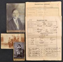 cca 1916 Katona okmányai: Anyakönyvi lapja, rajta a rendfokozatok változásával és áthelyezésekkel, minősítvényi táblázat + 3 fotó