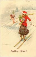 Boldog Újévet! / Winter Sport, New Year greeting card with skiing lady and angel, artist signed (EK)