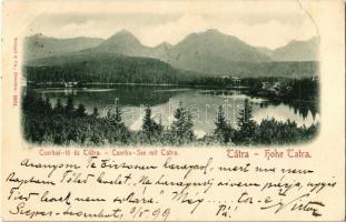 1899 Tátra, Magas Tátra, Vysoké Tatry; Csorba tó a Tátrával / Strbské pleso / lake, mountains (szakadás / tear)