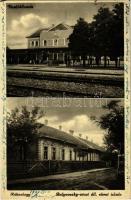 1937 Budapest XVII. Rákoshegy, vasútállomás, Bulyovszky utcai állami elemi iskola. Varga Edith kiadása