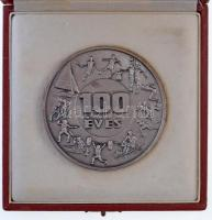 1988. MTK-VM Sportklub / 100 éves kétoldalas, ezüstözött Br plakett eredeti ÁPV tokban (70,5mm) T:1-