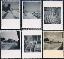 1943-1948 Hódmezővásárhely, szivattyútelep építése, 11 db fotó, 6×9 és 8×11 cm