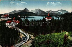 Tátra, Magas Tátra, Vysoké Tatry; Strbské pleso s ozubenou dráhou / Csorba See mit der Zahnradbahn / Csorba tó a fogaskerekű vasúttal / lake with cogwheel railway (EB)