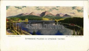 Tátra, Magas Tátra, Vysoké Tatry; Strbské Pleso / Csorba tó. Kiadja A. Chytil / lake (16 cm x 9 cm) (EB)