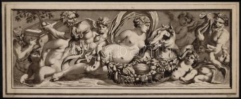 XVIII. sz. vége: Laurent Guyot (1756-1806) L.Heince, után. Antik reliefek 2 db. Akvatinta papír. Jelzett a dúcon 13x38 cm
