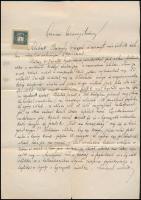 1910 Bp., Dr. Schaffer Károly igazgató-főorvos kézzel írt szakvéleménye intézeti elhelyezés szükségességéről