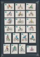 60 db német, a kerékpár történetét bemutató gyufacímke, 3 kartonlapon