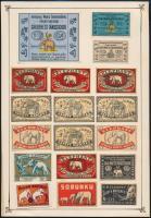 43 db svéd gyufacímke elefántok és egyéb témában 2 kartonlapra ragasztva