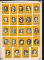 45 db belga és német gyufacímke (politikusok, zeneszerzők, festők) 2 kartonlapra ragasztva