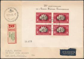 1950 UPU fogazott blokk ajánlott, légi levélen New Yorkba, R! (140.000)