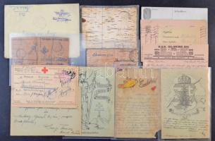 Ca. 550 db I-II. világháborús tábori posta küldemény, közte sok érdekesség, nyírfakéreg, rajzos, hadifogoly stb., cipős dobozban