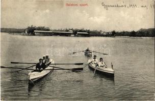 1911 Keszthely, Balatoni sport, evezősök, háttérben a szigetfürdő. Mérei Ignác kiadása (EK)