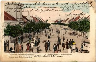 1902 Fehértemplom, Ung. Weisskirchen, Bela Crkva; Wendel utca, piac árusokkal / street view, market with vendors (Rb)