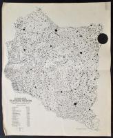 1926 A Dunántúl települési térképe. Bátky Zsigmond és Kogutowitz Károly nyomán, 1:600.000, kis gyűrődéssel a széleken, hajtásnyommal, 52x43 cm