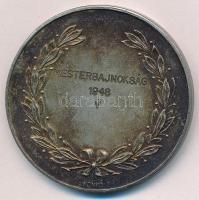 1948. Mesterbajnokság 1948 V ezüstözött Br tennisz díjérem (50mm) T:1- patina