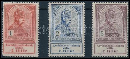 1913 Árvíz 3 db záróérték (37.000) (1K törés, 2K és 5K falcos)