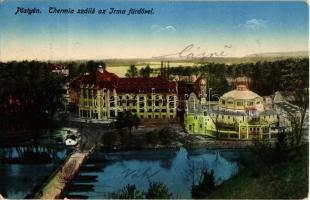 1915 Pöstyén, Pistyan, Piestany; Thermia szálloda az Irma fürdővel, hajóhíd / hotel, spa hall, bathing house, pontoon bridge
