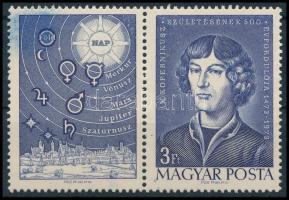 1973 Kopernikusz bélyeg festékelkenődés a szelvényen