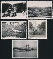 cca 1930 Cserkész tábor 4 db fotó 6x9 cm + 1 Erzsébet híd fotó
