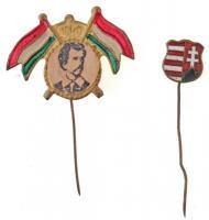 DN 1848 Petőfi Sándor arcképével díszített, részben festett kitűző + DN Kossuth címer zománcozott kitűző T:2