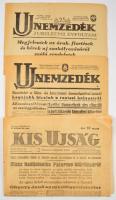 1943 Az Új Nemzedék c. újság két száma, valamint a Kis Ujság egy száma